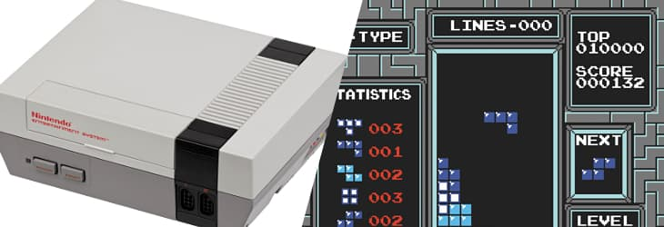 The Nintendo Entertainment System, with Tetris