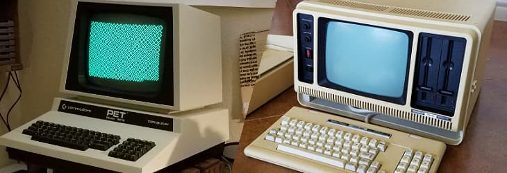 Two of my retro computers - the PET Model 4016, and TRS-80 4P