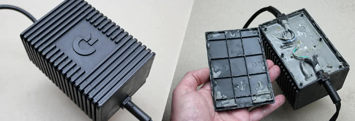 The C64 power brick is not repairable, due to its inside being filled with epoxy