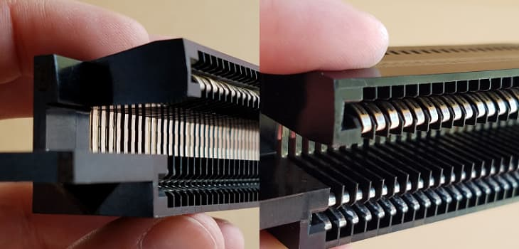 Close up of NES 72-pin connector from side and front