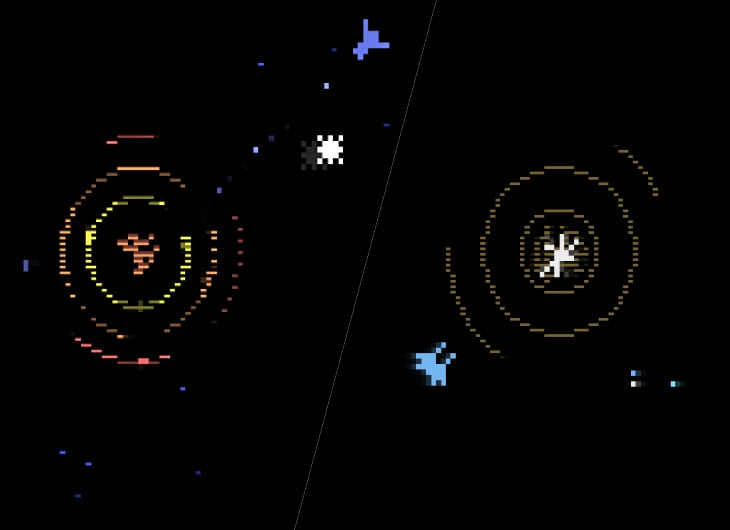Two Atari 2600 versions of Star Castle