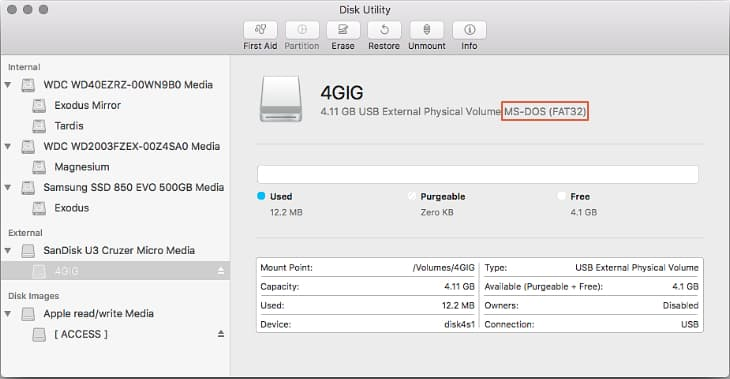 Disk Utility - Checking SD card format