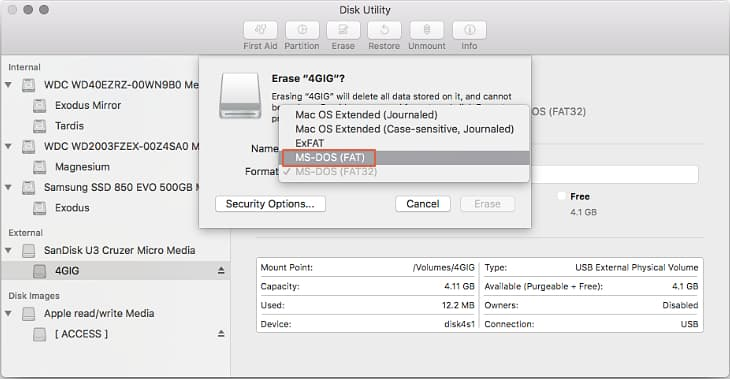 Disk Utility - Formatting SD card in FAT32
