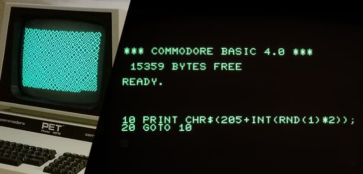 My Commodore PET running a simple pattern generator in BASIC