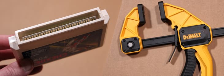"A Famicom cartridge, and the DeWalt 12"" heavy trigger clamp"