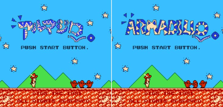Title screen from the Japanese Famicom game, Armadillo