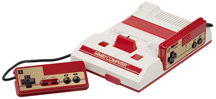 Famicom console with controller