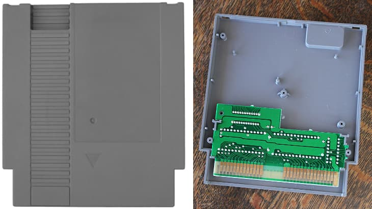 NES cartridge housing and board sizes compared