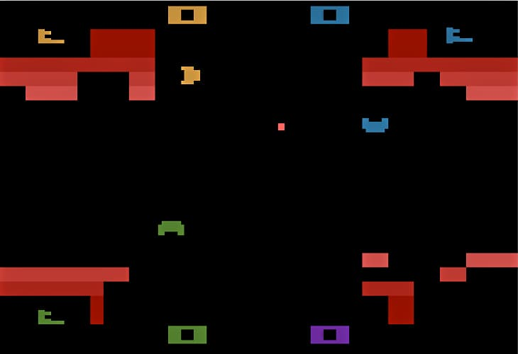 Gameplay in Warlords on the Atari 2600 is fast and furious with 4 players