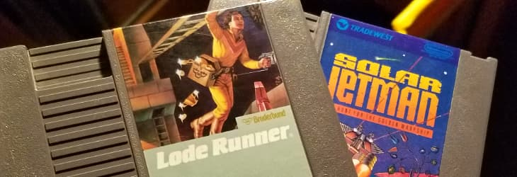 Two game cartridges for the NES: Lode Runner, and Solar Jetman