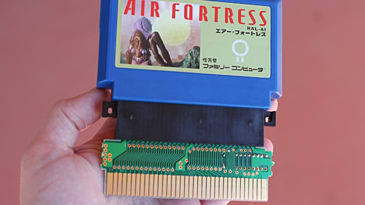 Famicom cartridge on Gyromite adapter