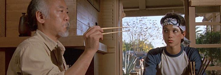 The Karate Kid - Mr. Miyagi teaches Daniel to catch a fly with chopsticks